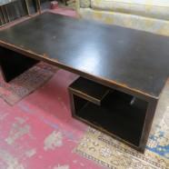 Vintage mid-century modern distressed Greek key wood coffee table – $300