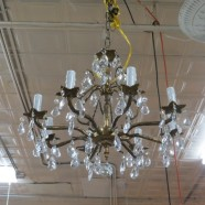 Vintage antique brass and crystal 8 arm chandelier – $445