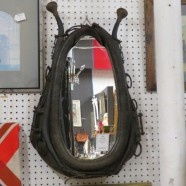 Vintage antique leather horse collar mirror – $280