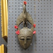 SALE! Vintage antique RARE Childs carved wood African mask – $395