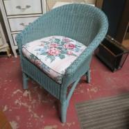 Vintage antique blue wicker chair – $200