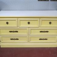 Vintage antique yellow 7 drawer credenza/dresser – $225