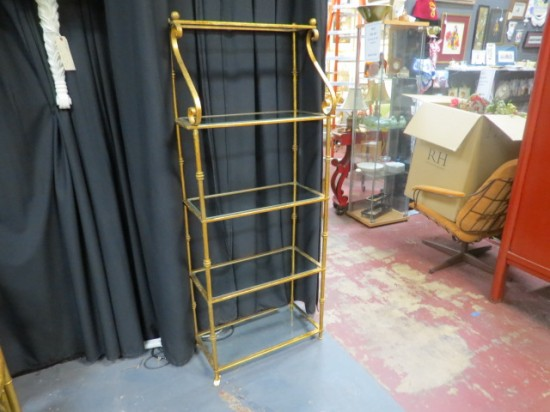 Vintage mid-century modern gilded metal shelf etagere – $695