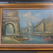 Vintage antique impressionist oil painting of a winery – $195