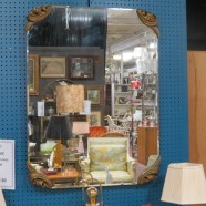 Vintage mid-century modern large beveled mirror – $275