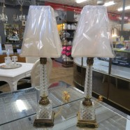 Vintage antique pair of glass and gilt metal lamps – $245 pair