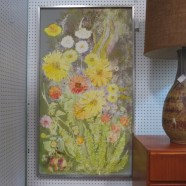 SALE! Vintage mid-century modern large colorful floral oil painting – $145