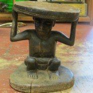 Vintage antique carved African figural Chieftain stool – $495