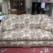 Vintage antique carved walnut tapestry sofa – $400