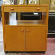 SALE!  Vintage Danish modern teak bar cabinet on wheels – $125