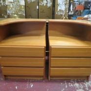 Vintage pair of Danish modern teak side tables/nightstands – $225