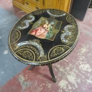 Vintage antique Victorian oval hand painted shabby chic side table – $100