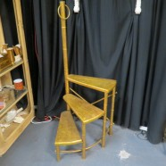 Vintage antique gilt wood and faux bamboo metal library steps – $159