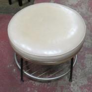 SALE! Vintage mid-century modern swivel stool/ottoman with shelf – $63