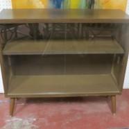 Vintage mid-century modern walnut glass door cabinet / bookcase – $225