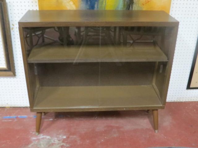 vintage midcentury modern walnut glass door cabinet bookcase u2013 225