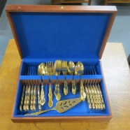 Vintage antique Towle electroplated gold flatware set for 12 – $350