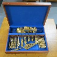 Vintage antique Towle electroplated gold flatware set for 12 – $350