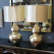 Vintage mid-century modern pair of metallic double gourd lamps – $195 pair