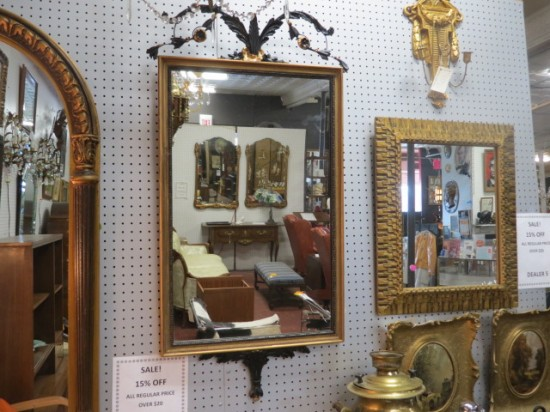 Vintage antique French style carved gold mirror – $150