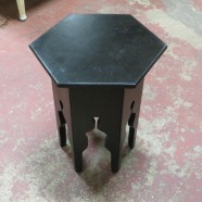 Vintage antique small Moroccan ebonized side table – $160