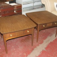 SALE! Vintage mid-century modern pair of Bassett walnut side tables – $150 pair