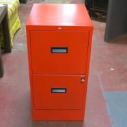 SALE! Vintage mid-century modern red Hon 2 drawer file cabinet – $65