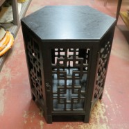 Vintage carved wood Chinese cabinet table – $42