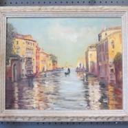 Vintage mid-century modern impressionist Venice scene oil painting – $125