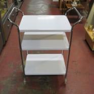 SALE! Vintage mid-century modern white enamel 3 tier bar cart – $75
