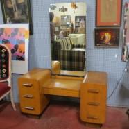 Vintage Art Deco solid oak vanity – $695