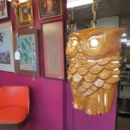 SALE!  Vintage mid-century modern ceramic owl swag lamp chandelier – $116