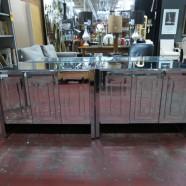 Vintage mid-century modern Ello pair of mirrored cabinets – $495 each