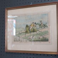 Vintage antique hunt scene small lithograph print – $50