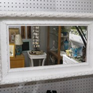 Vintage antique shabby chic white painted mirror – $55