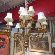 Vintage Fine Arts large gilt wood 12 arm chandelier – $495