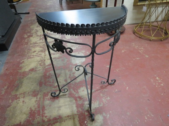 Vintage antique wrought iron demi-lune small console table – $135