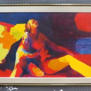 Vintage mid-century modern abstract impressionist figural oil painting – $395