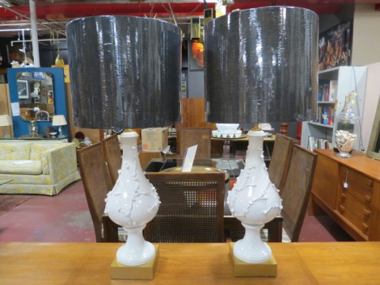 SALE!  Vintage mid-century modern pair of Italian porcelain lamps – $326 PAIR