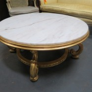 Vintage mid-century modern round marble top gilt base coffee table – $695