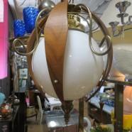 Vintage mid-century modern cool globe swag light chandelier – $195
