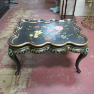 Vintage hand painted black and gold coffee table – $275