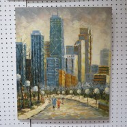 Vintage mid-century modern abstract Chicago cityscape oil painting – $165