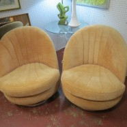 SALE!  Vintage mid century modern pair of Milo Baughman swivel chairs – $1800 for the pair