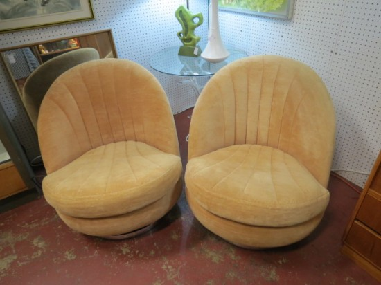 Vintage mid century modern pair of Milo Baughman swivel chairs – $2400 for the pair
