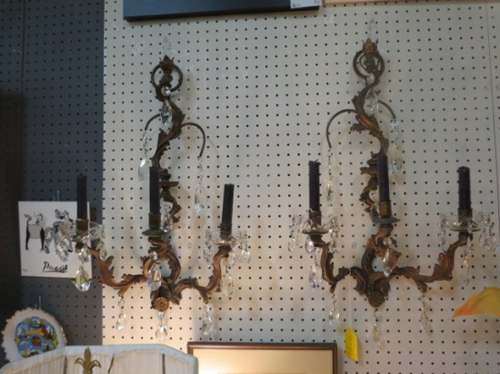 Vintage antique pair of 3 arm French patinated brass candle sconces – $185 for the pair