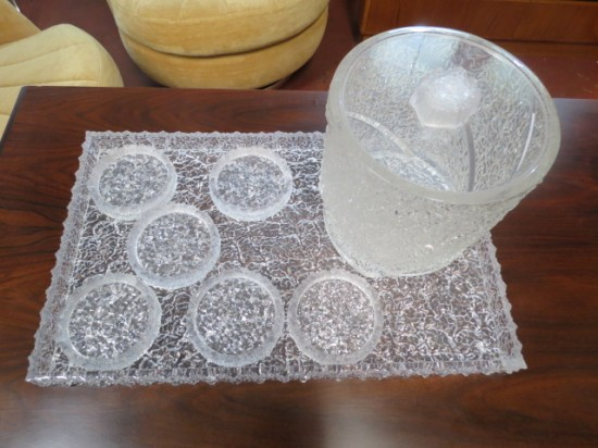 SALE! Vintage mid century modern lucite bar set – $48 for the set