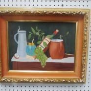 Vintage mid century modern still life oil painting – $125