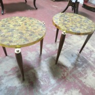 Vintage mid century modern pair of round side tables – $70