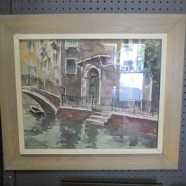 Vintage Watercolor of Venice by Chicago artist B.W. Landy – $150